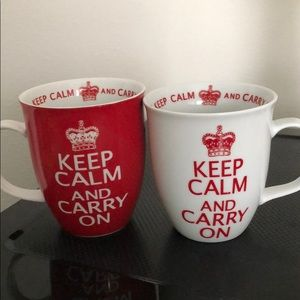 KEEP CALM AND CARRY ON MUGS SET OF 2